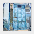 Canvasdoek-100-x-100-cm-Blue-door-achtergrond
