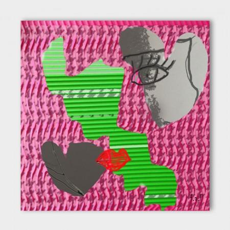 Canvasdoek-100-x-100-cm.-Women-behind-curtain-achtergrond