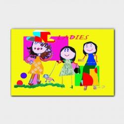Canvasdoek-kinderen-Ladies-gekleurd-achtergrond