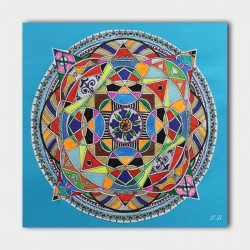 Canvasdoek-mandala-blue