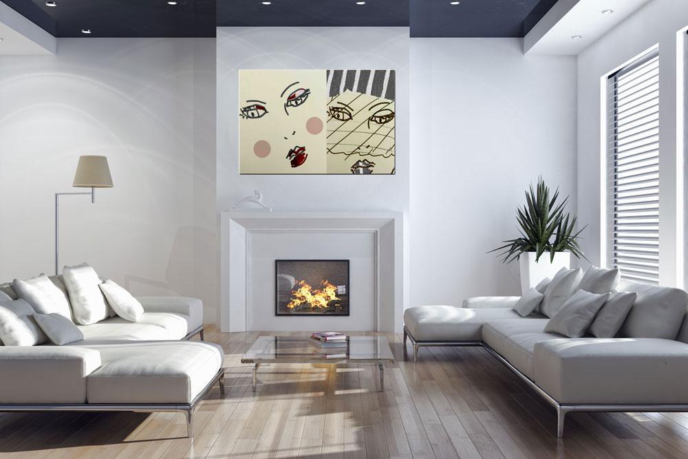 Muurdecoratie schilderij woonkamer - Deco kleur muur decoratie ...