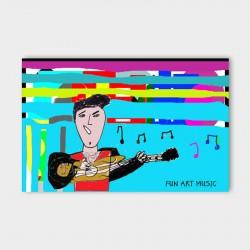 canvasdoek-kinderen-Fun-art-music-blue-achtergrond