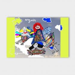 canvasdoek-kinderen-angels-geel-achtergrond